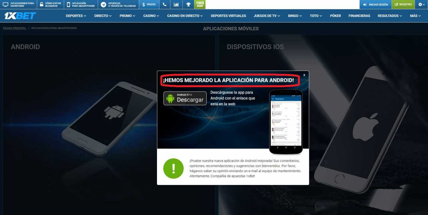 1xBet mobile app download para Android